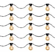 Cordão para Lâmpadas com 10 soquetes e 5 metros Preto