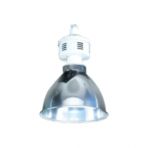 Luminária com alojamento branco e refletor em alumínio para facho aberto