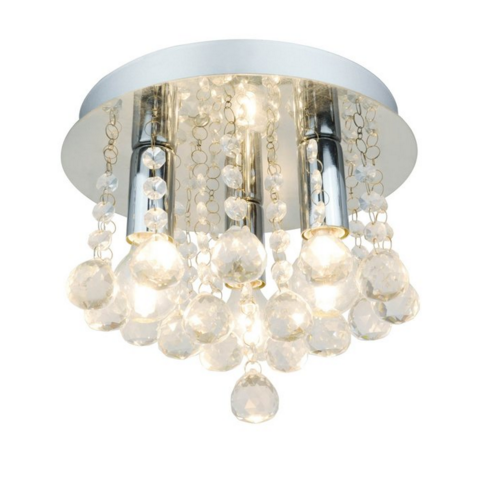 Plafon de cristal e metal transparente 03 lampadas