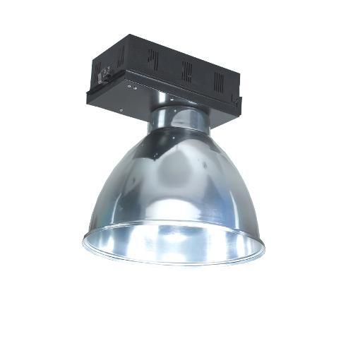 Luminária com alojamento e refletor em alumínio para facho aberto
