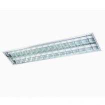 Luminária Embutir 2X32 com refletor e aletas parabólicas em alumínio de alto brilho
