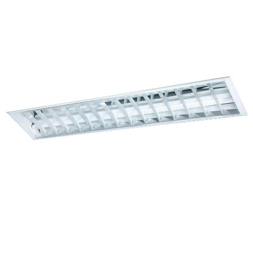Luminária Embutir assimétrica com aletas planas branca e refletor em alumínio alto brilho