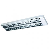 Luminária Sobrepor  com refletor e aletas parabólicas em alumínio alto brilho